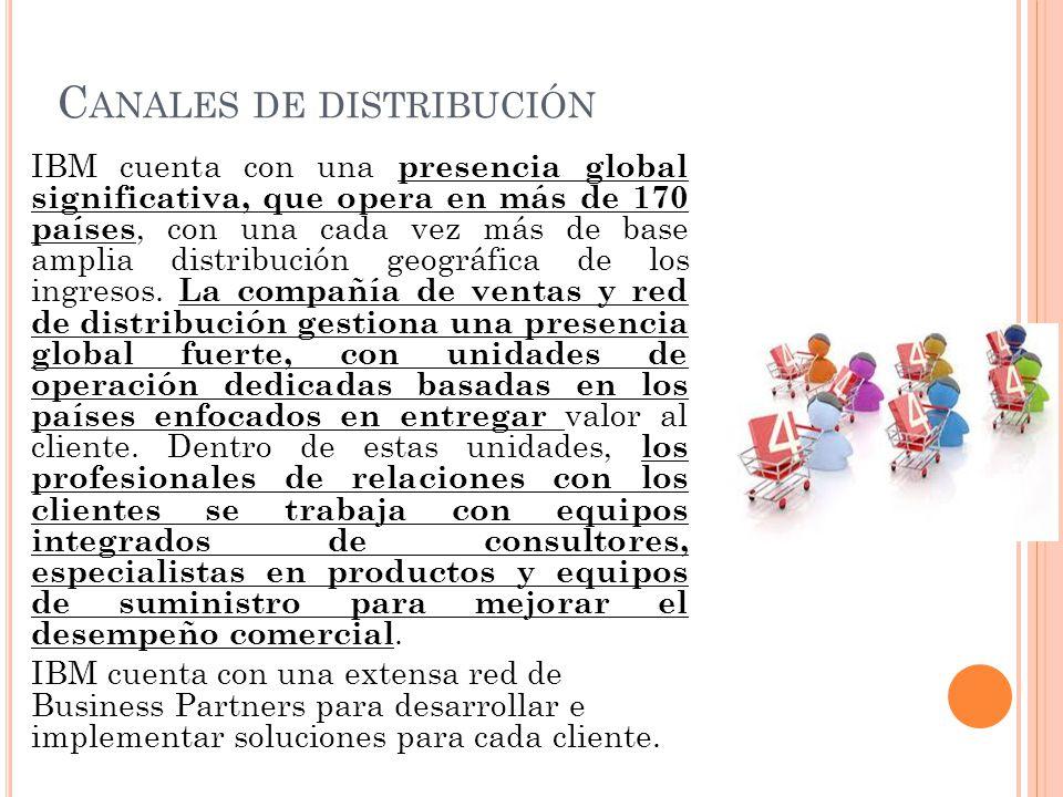 C ANALES DE DISTRIBUCIÓN IBM cuenta con una presencia global significativa, que opera en más de 170 países, con una cada vez más de base amplia distri