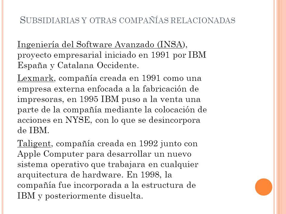 S UBSIDIARIAS Y OTRAS COMPAÑÍAS RELACIONADAS Ingeniería del Software Avanzado (INSA), proyecto empresarial iniciado en 1991 por IBM España y Catalana