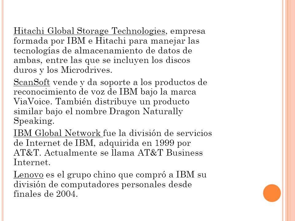 Hitachi Global Storage Technologies, empresa formada por IBM e Hitachi para manejar las tecnologías de almacenamiento de datos de ambas, entre las que