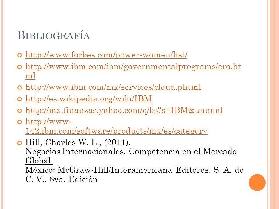 B IBLIOGRAFÍA http://www.forbes.com/power-women/list/ http://www.ibm.com/ibm/governmentalprograms/ero.ht ml http://www.ibm.com/ibm/governmentalprogram