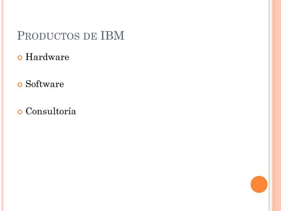 P RODUCTOS DE IBM Hardware Software Consultoría