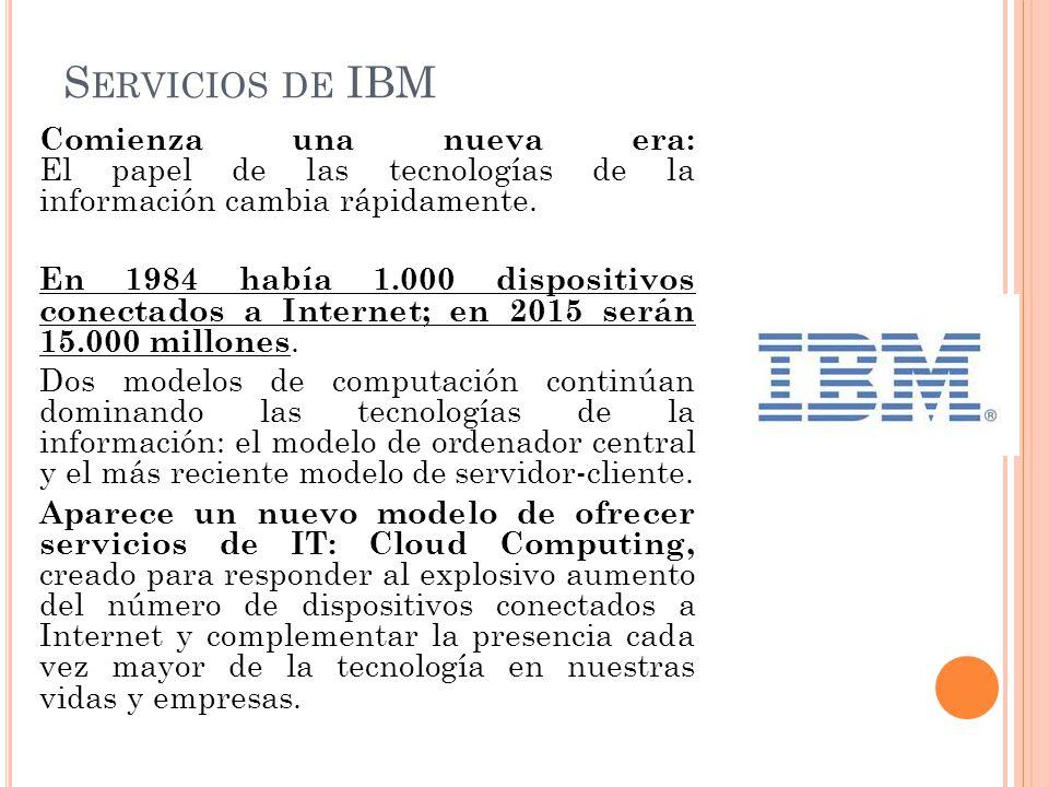 S ERVICIOS DE IBM Comienza una nueva era: El papel de las tecnologías de la información cambia rápidamente. En 1984 había 1.000 dispositivos conectado