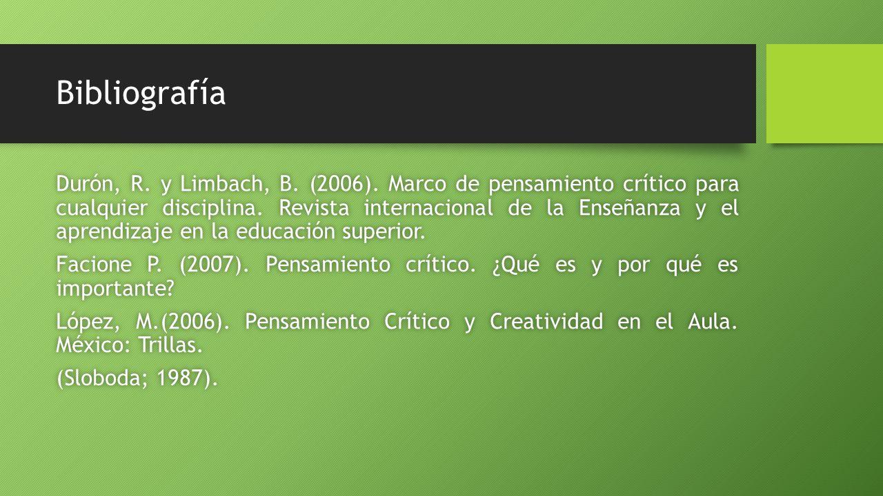 Bibliografía Durón, R.y Limbach, B. (2006).