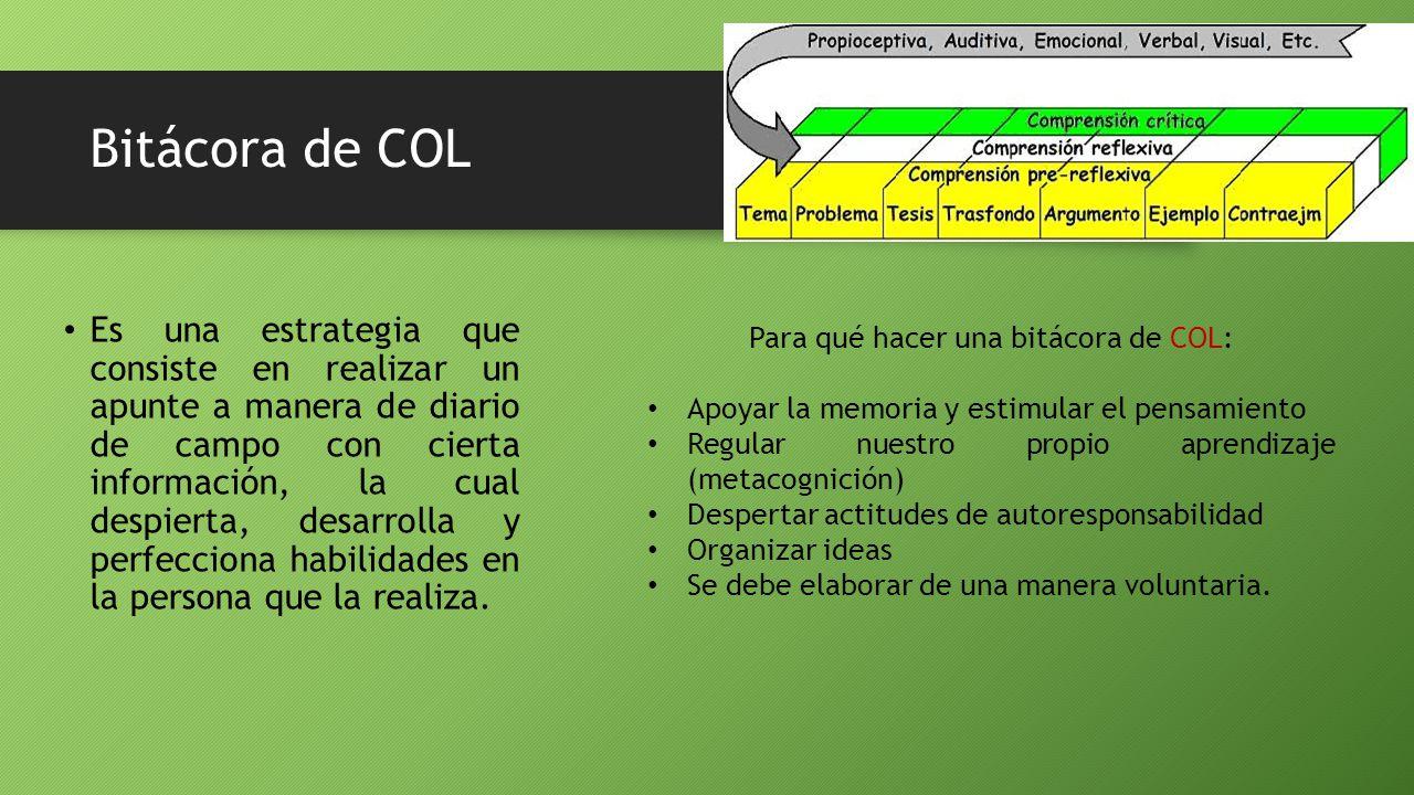 Bitácora de COL Es una estrategia que consiste en realizar un apunte a manera de diario de campo con cierta información, la cual despierta, desarrolla y perfecciona habilidades en la persona que la realiza.