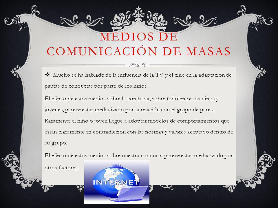 MEDIOS DE COMUNICACIÓN DE MASAS Mucho se ha hablado de la influencia de la TV y el cine en la adaptación de pautas de conductas por parte de los niños.