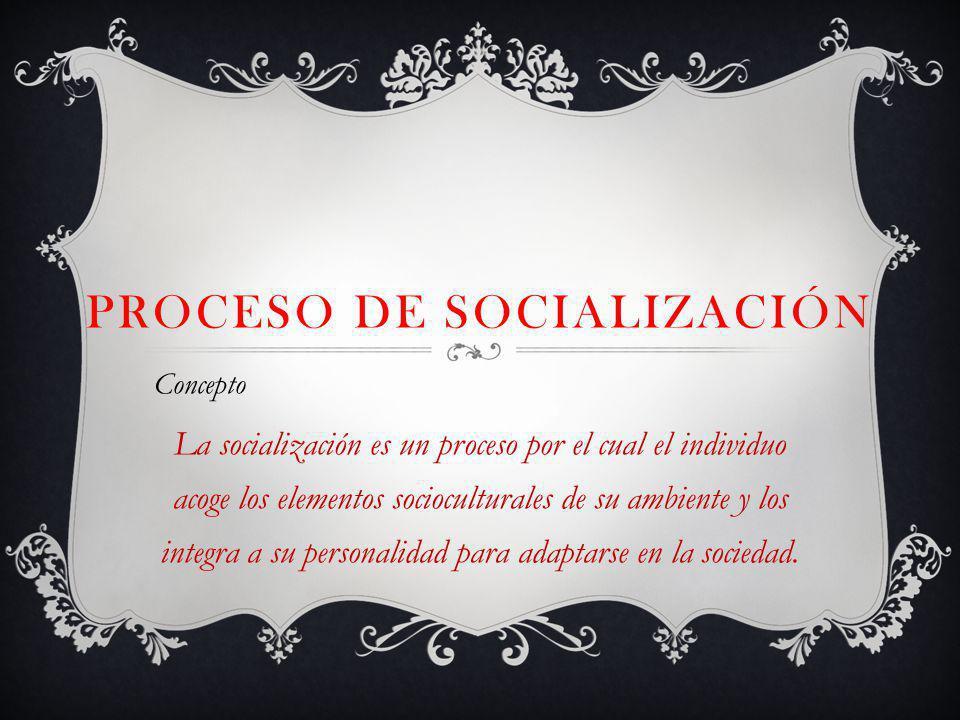 PROCESO DE SOCIALIZACIÓN Concepto La socialización es un proceso por el cual el individuo acoge los elementos socioculturales de su ambiente y los integra a su personalidad para adaptarse en la sociedad.