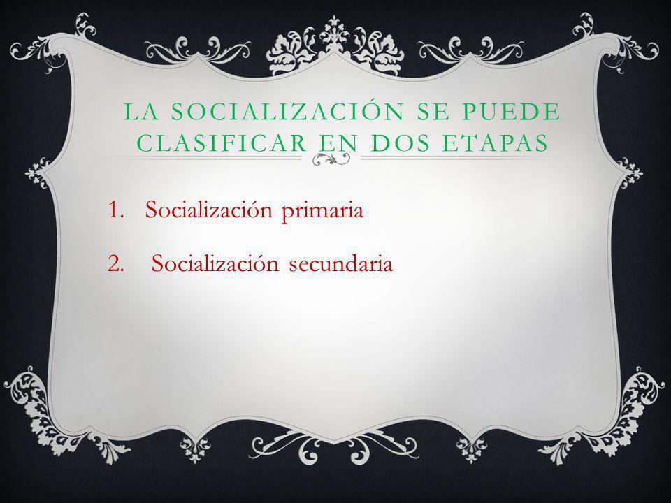 LA SOCIALIZACIÓN SE PUEDE CLASIFICAR EN DOS ETAPAS 1.Socialización primaria 2.