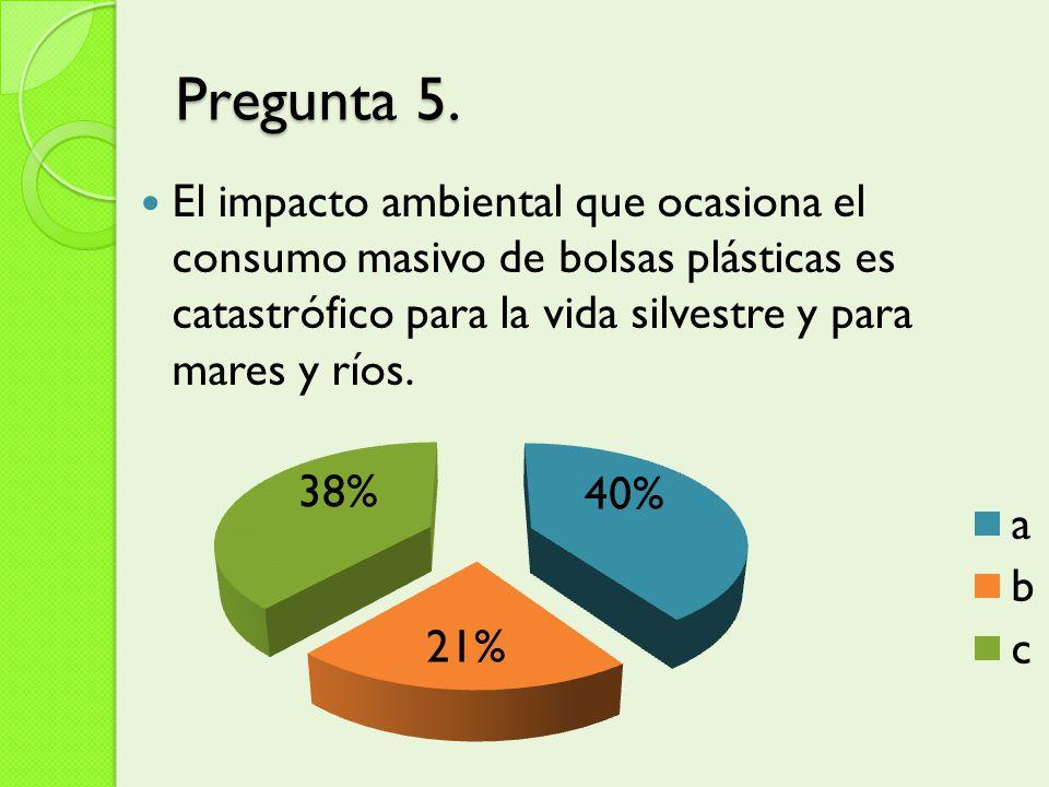 Pregunta 5. El impacto ambiental que ocasiona el consumo masivo de bolsas plásticas es catastrófico para la vida silvestre y para mares y ríos.