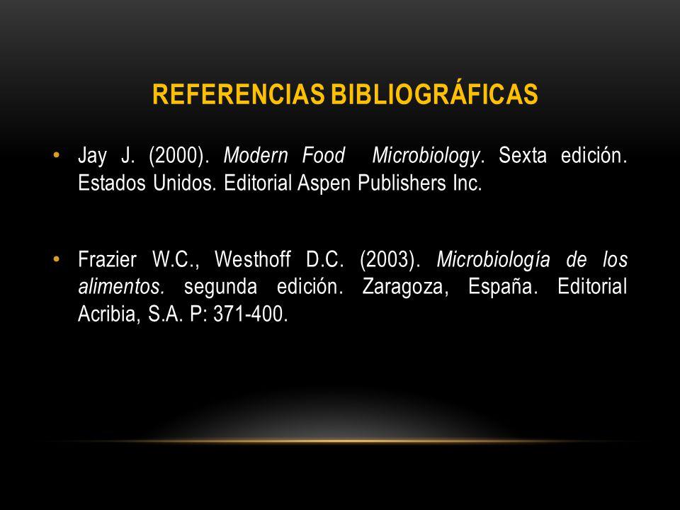 Jay J. (2000). Modern Food Microbiology. Sexta edición. Estados Unidos. Editorial Aspen Publishers Inc. Frazier W.C., Westhoff D.C. (2003). Microbiolo