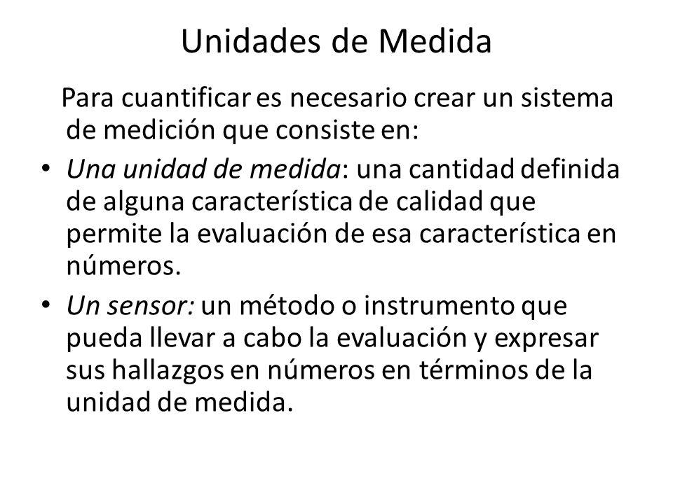 Unidades de Medida Para cuantificar es necesario crear un sistema de medición que consiste en: Una unidad de medida: una cantidad definida de alguna c