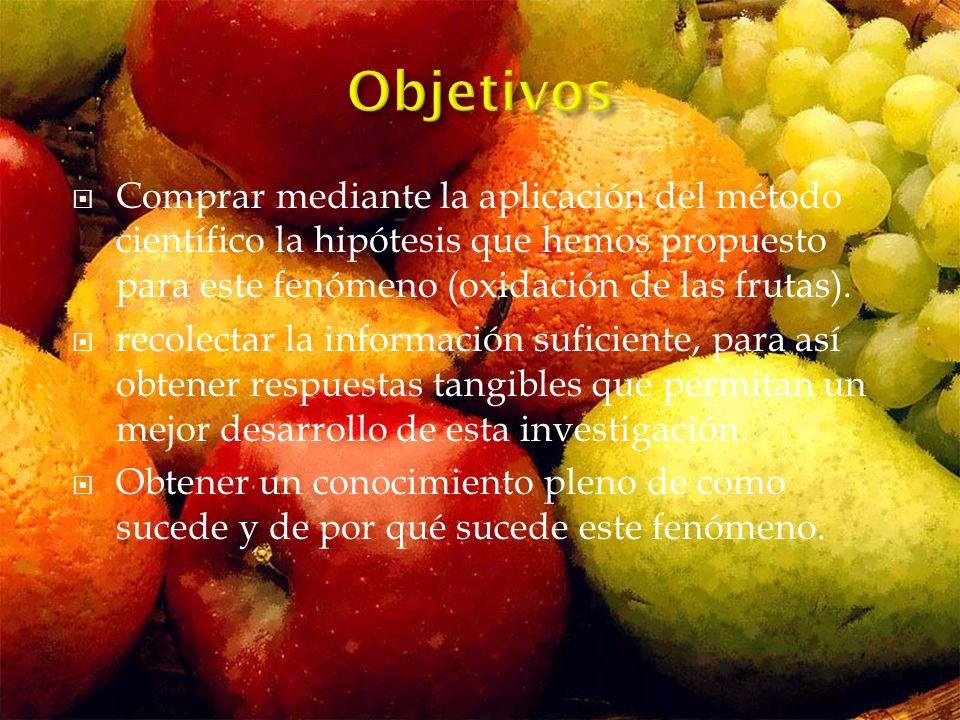 Comprar mediante la aplicación del método científico la hipótesis que hemos propuesto para este fenómeno (oxidación de las frutas).