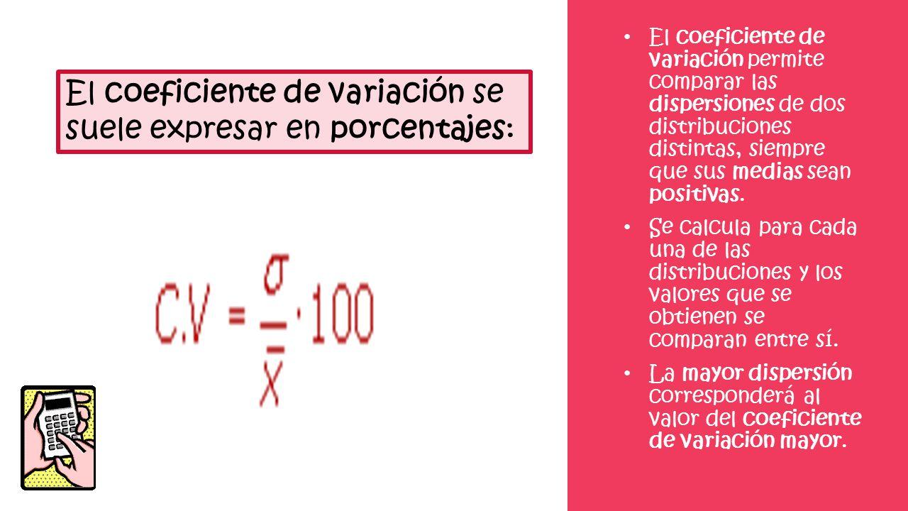 El coeficiente de variación permite comparar las dispersiones de dos distribuciones distintas, siempre que sus medias sean positivas. Se calcula para