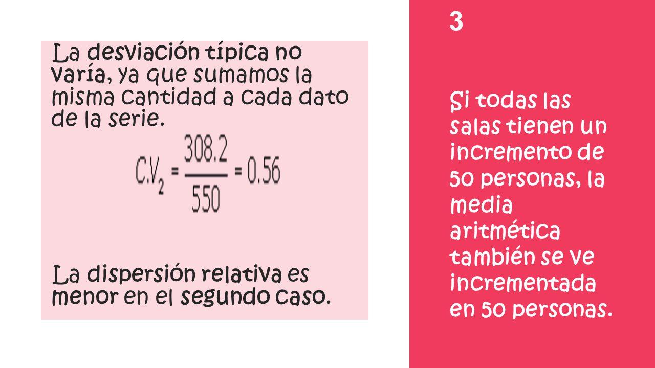 3 La desviación típica no varía, ya que sumamos la misma cantidad a cada dato de la serie. La dispersión relativa es menor en el segundo caso. Si toda
