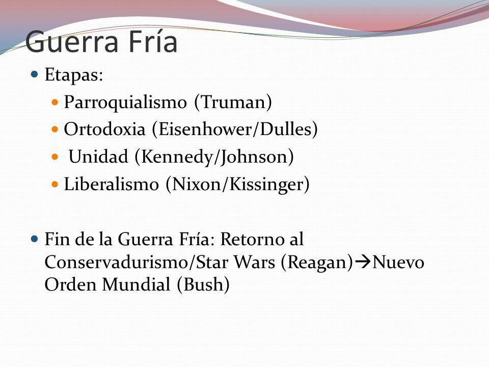 Guerra Fría Etapas: Parroquialismo (Truman) Ortodoxia (Eisenhower/Dulles) Unidad (Kennedy/Johnson) Liberalismo (Nixon/Kissinger) Fin de la Guerra Fría: Retorno al Conservadurismo/Star Wars (Reagan) Nuevo Orden Mundial (Bush)