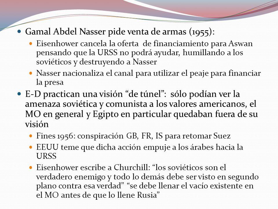 Gamal Abdel Nasser pide venta de armas (1955): Eisenhower cancela la oferta de financiamiento para Aswan pensando que la URSS no podrá ayudar, humillando a los soviéticos y destruyendo a Nasser Nasser nacionaliza el canal para utilizar el peaje para financiar la presa E-D practican una visión de túnel: sólo podían ver la amenaza soviética y comunista a los valores americanos, el MO en general y Egipto en particular quedaban fuera de su visión Fines 1956: conspiración GB, FR, IS para retomar Suez EEUU teme que dicha acción empuje a los árabes hacia la URSS Eisenhower escribe a Churchill: los soviéticos son el verdadero enemigo y todo lo demás debe ser visto en segundo plano contra esa verdad se debe llenar el vacío existente en el MO antes de que lo llene Rusia