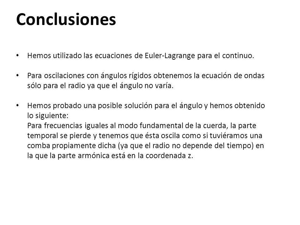 Conclusiones Hemos utilizado las ecuaciones de Euler-Lagrange para el continuo. Para oscilaciones con ángulos rígidos obtenemos la ecuación de ondas s