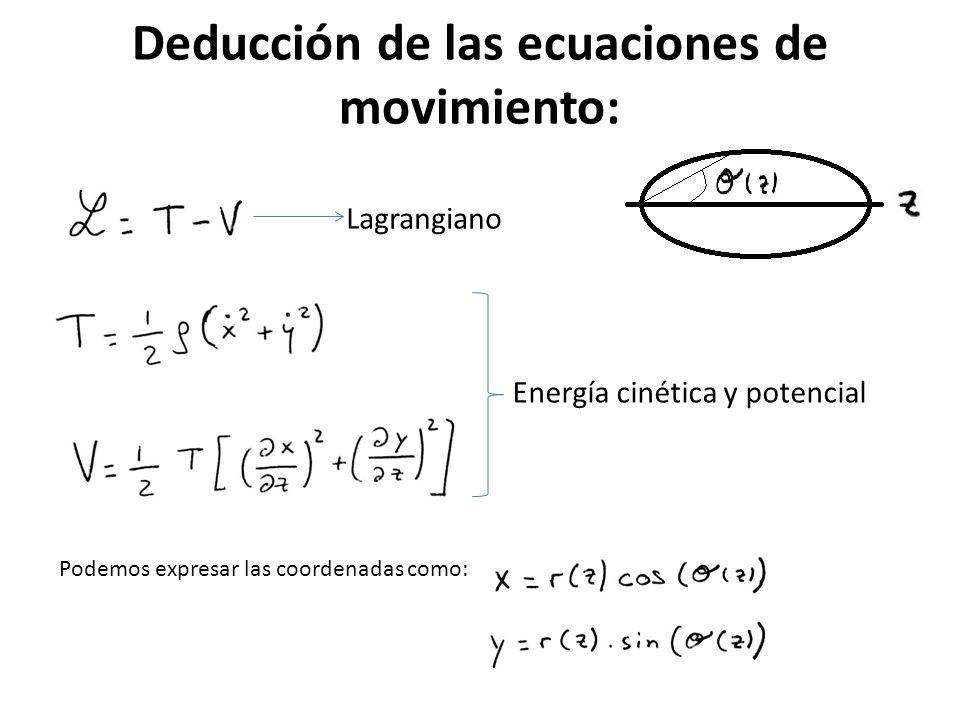 Desarrollando los términos, encontramos el Lagrangiano: Sabemos que las ecuaciones de Euler-Lagrange vienen dadas por: (1) (2)