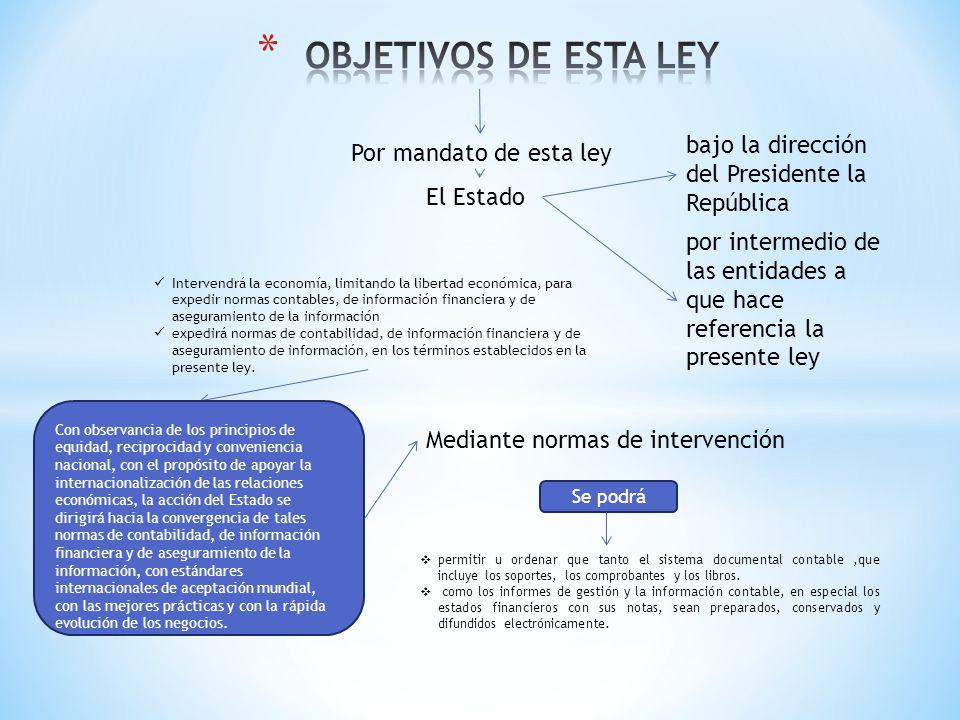 Por mandato de esta ley El Estado bajo la dirección del Presidente la República por intermedio de las entidades a que hace referencia la presente ley