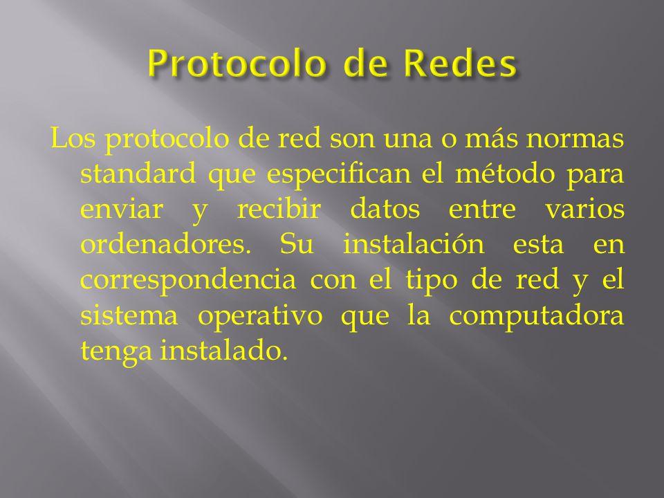 Los protocolo de red son una o más normas standard que especifican el método para enviar y recibir datos entre varios ordenadores.