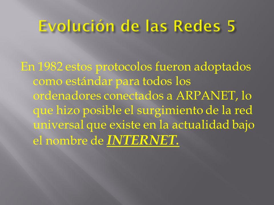 En 1982 estos protocolos fueron adoptados como estándar para todos los ordenadores conectados a ARPANET, lo que hizo posible el surgimiento de la red universal que existe en la actualidad bajo el nombre de INTERNET.