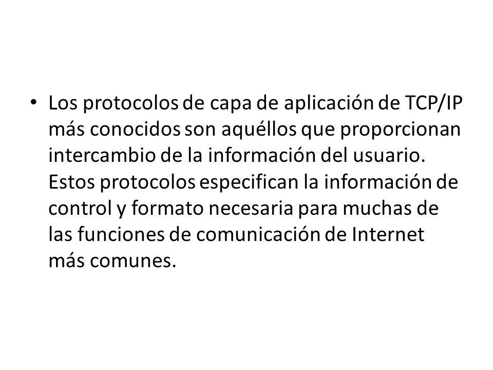 Los protocolos de capa de aplicación de TCP/IP más conocidos son aquéllos que proporcionan intercambio de la información del usuario. Estos protocolos