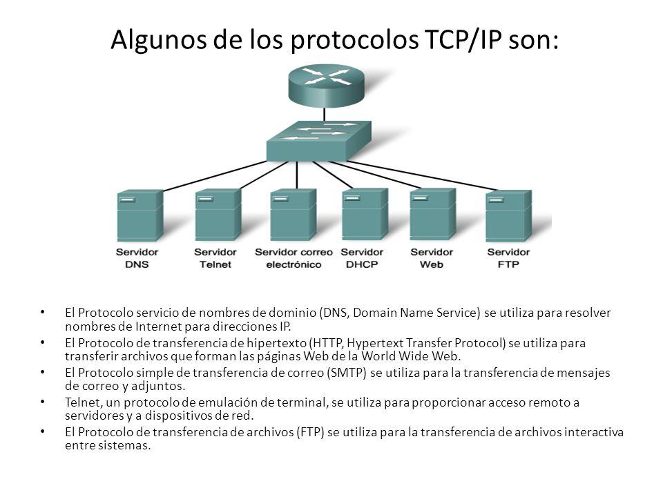 Algunos de los protocolos TCP/IP son: El Protocolo servicio de nombres de dominio (DNS, Domain Name Service) se utiliza para resolver nombres de Internet para direcciones IP.