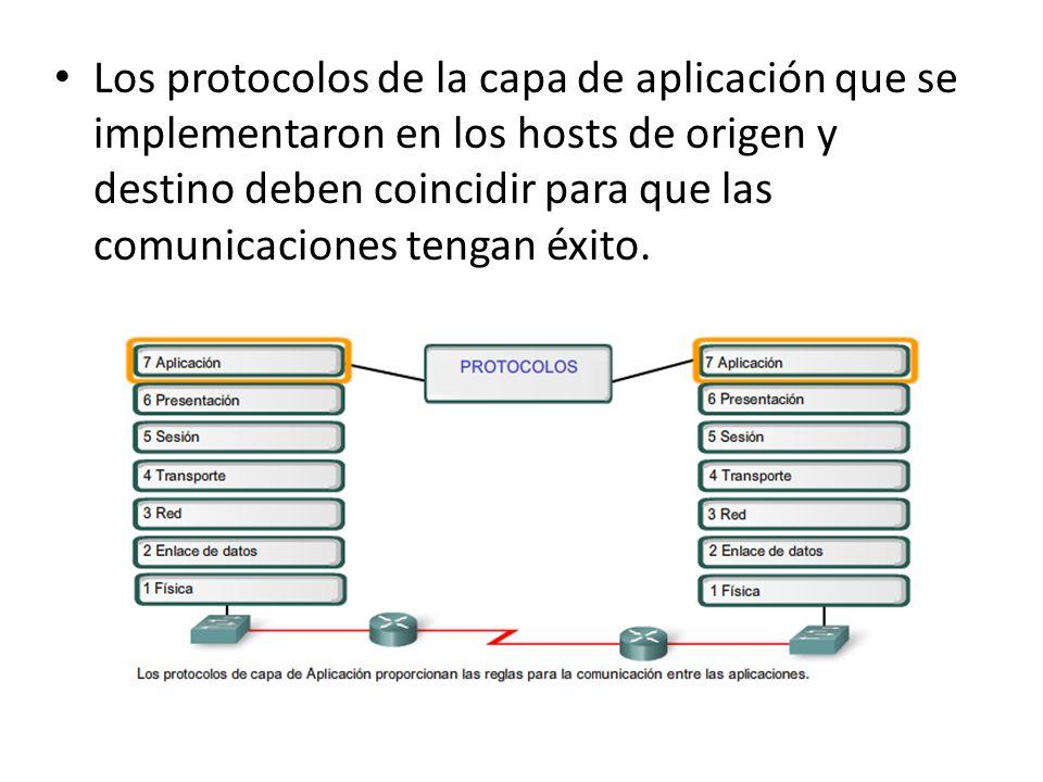 Los protocolos de la capa de aplicación que se implementaron en los hosts de origen y destino deben coincidir para que las comunicaciones tengan éxito