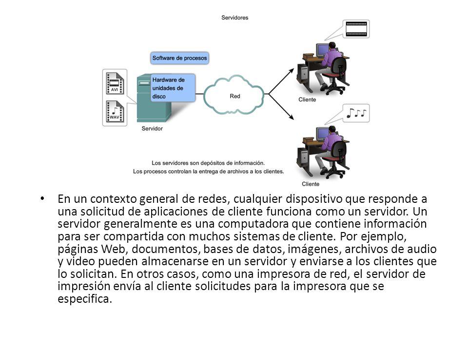 En un contexto general de redes, cualquier dispositivo que responde a una solicitud de aplicaciones de cliente funciona como un servidor. Un servidor