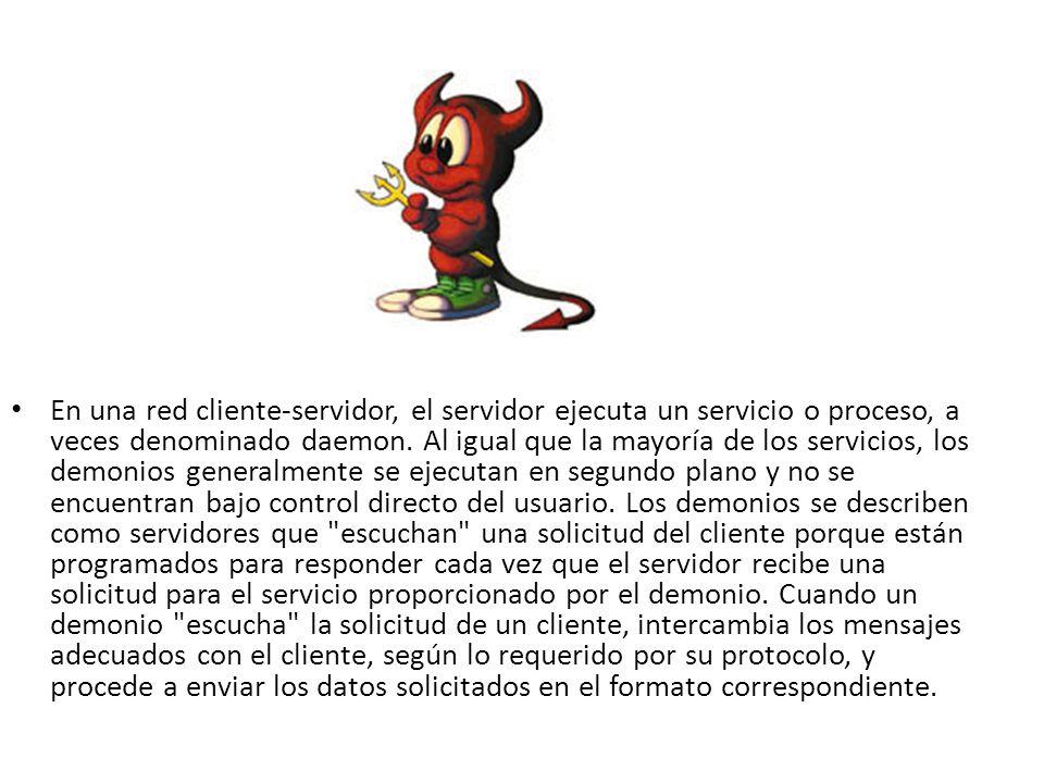 En una red cliente-servidor, el servidor ejecuta un servicio o proceso, a veces denominado daemon. Al igual que la mayoría de los servicios, los demon