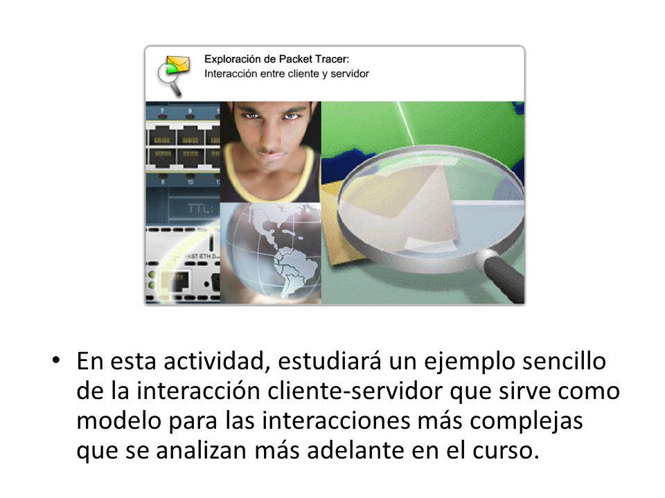 En esta actividad, estudiará un ejemplo sencillo de la interacción cliente-servidor que sirve como modelo para las interacciones más complejas que se