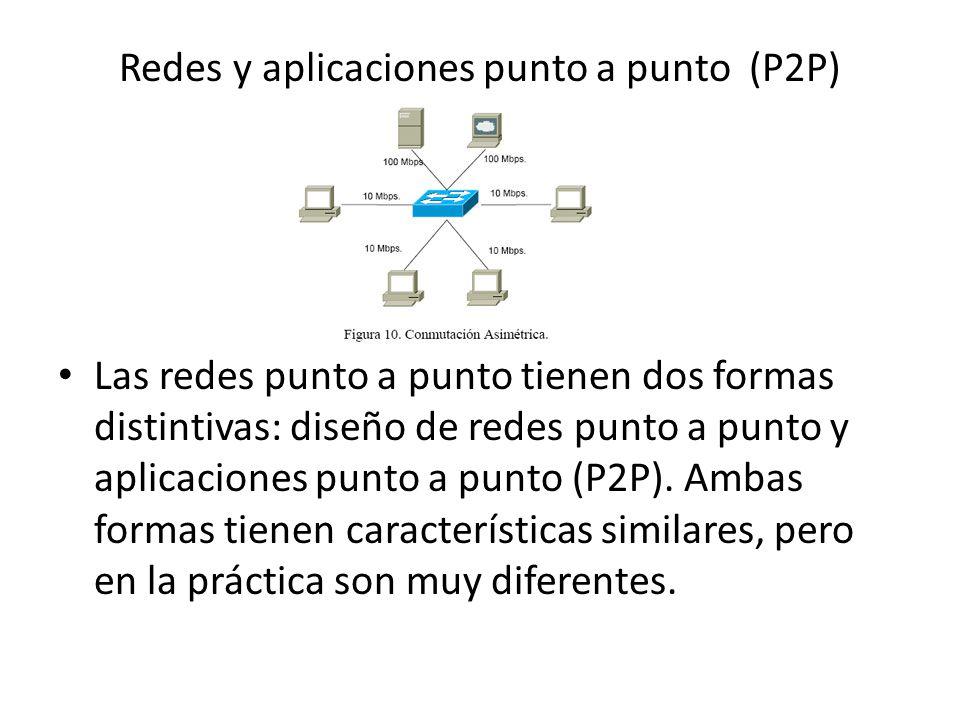 Redes y aplicaciones punto a punto (P2P) Las redes punto a punto tienen dos formas distintivas: diseño de redes punto a punto y aplicaciones punto a punto (P2P).