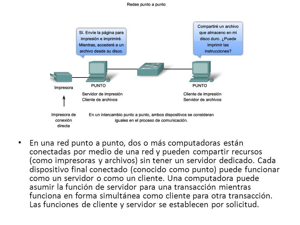 Red punto a punto En una red punto a punto, dos o más computadoras están conectadas por medio de una red y pueden compartir recursos (como impresoras y archivos) sin tener un servidor dedicado.