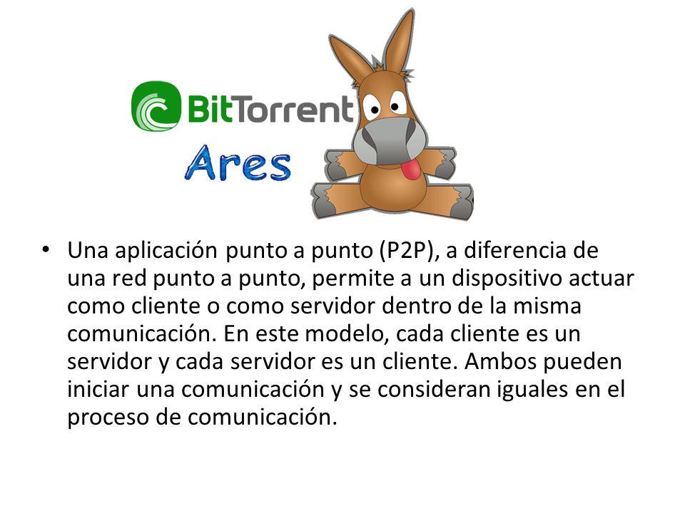 Una aplicación punto a punto (P2P), a diferencia de una red punto a punto, permite a un dispositivo actuar como cliente o como servidor dentro de la misma comunicación.