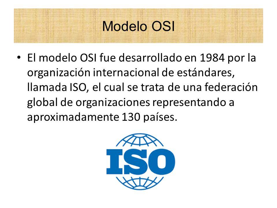 El modelo OSI fue desarrollado en 1984 por la organización internacional de estándares, llamada ISO, el cual se trata de una federación global de orga