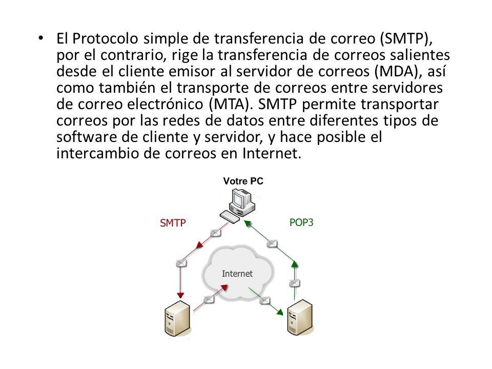 El Protocolo simple de transferencia de correo (SMTP), por el contrario, rige la transferencia de correos salientes desde el cliente emisor al servidor de correos (MDA), así como también el transporte de correos entre servidores de correo electrónico (MTA).