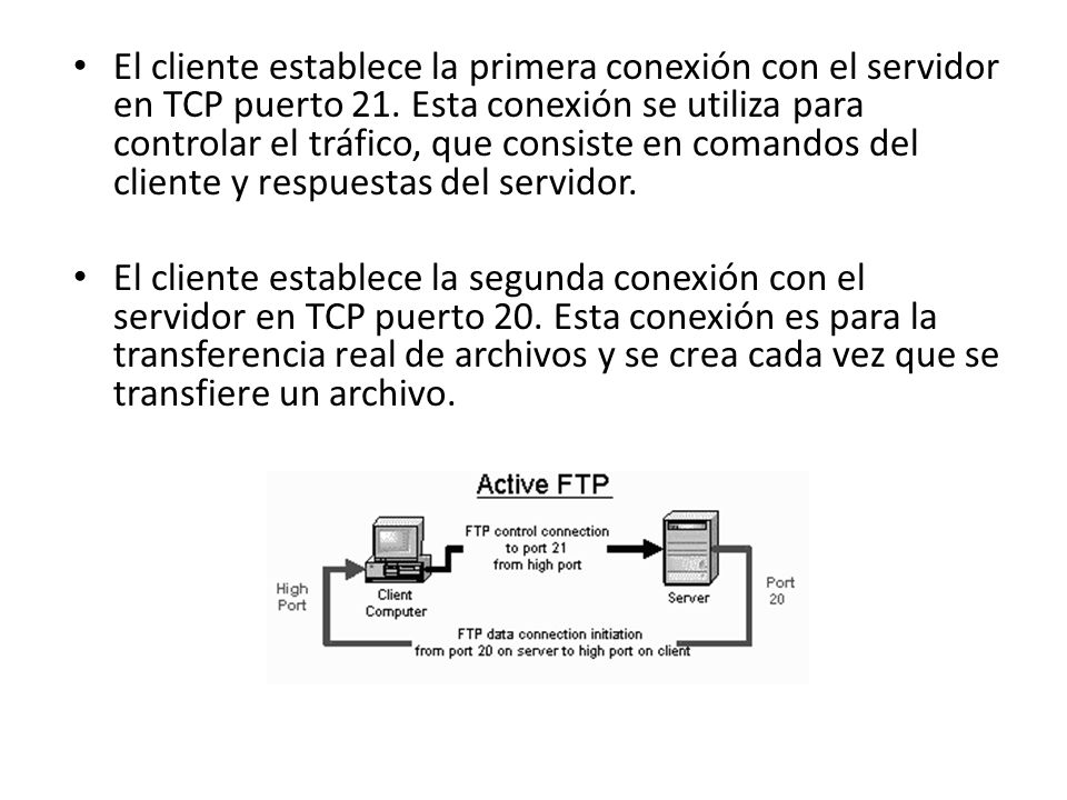 El cliente establece la primera conexión con el servidor en TCP puerto 21. Esta conexión se utiliza para controlar el tráfico, que consiste en comando
