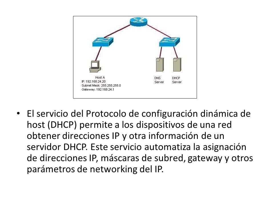 El servicio del Protocolo de configuración dinámica de host (DHCP) permite a los dispositivos de una red obtener direcciones IP y otra información de