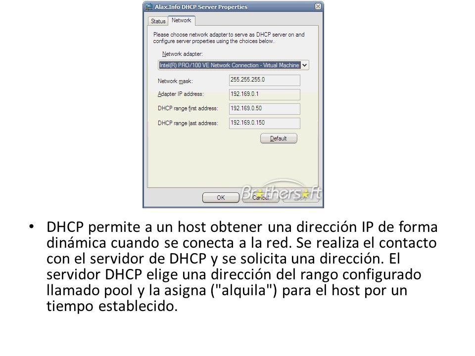 DHCP permite a un host obtener una dirección IP de forma dinámica cuando se conecta a la red. Se realiza el contacto con el servidor de DHCP y se soli