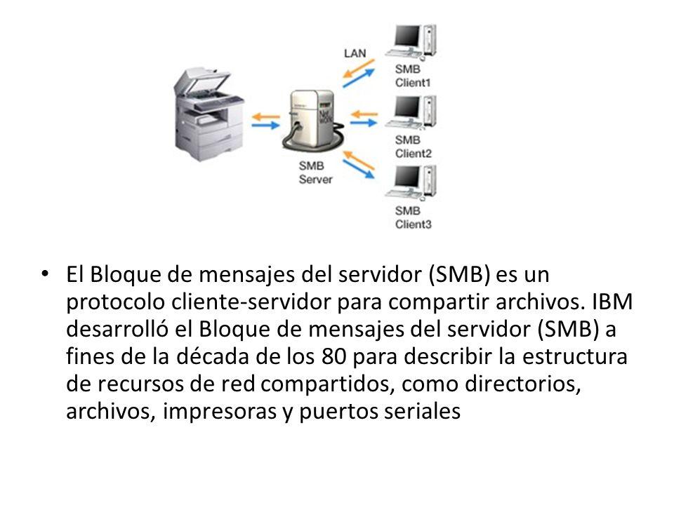 El Bloque de mensajes del servidor (SMB) es un protocolo cliente-servidor para compartir archivos. IBM desarrolló el Bloque de mensajes del servidor (
