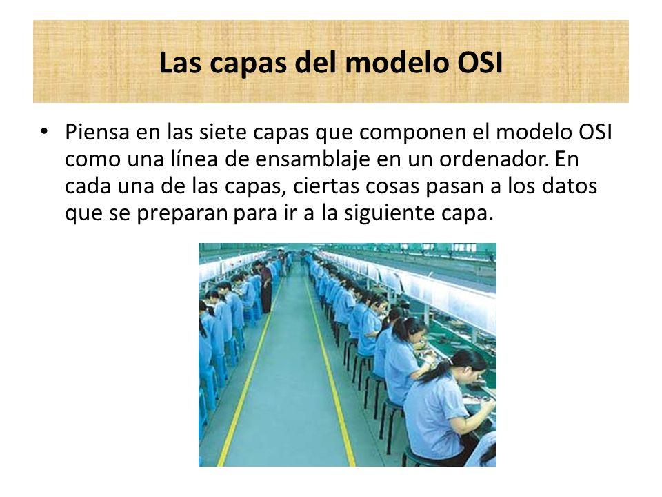 Piensa en las siete capas que componen el modelo OSI como una línea de ensamblaje en un ordenador. En cada una de las capas, ciertas cosas pasan a los