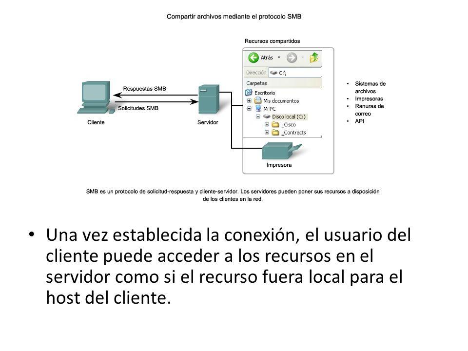 Una vez establecida la conexión, el usuario del cliente puede acceder a los recursos en el servidor como si el recurso fuera local para el host del cl