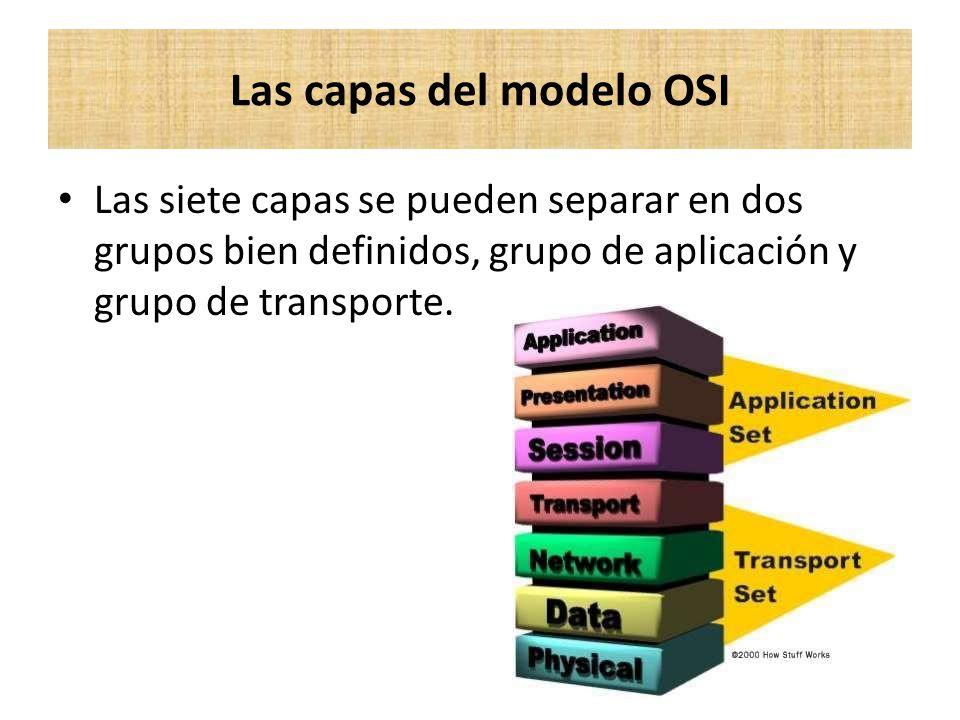 Las siete capas se pueden separar en dos grupos bien definidos, grupo de aplicación y grupo de transporte. Las capas del modelo OSI