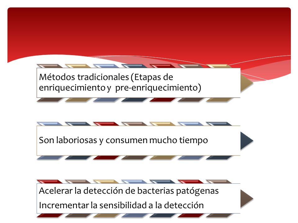 Métodos tradicionales (Etapas de enriquecimiento y pre-enriquecimiento) Son laboriosas y consumen mucho tiempo Acelerar la detección de bacterias pató