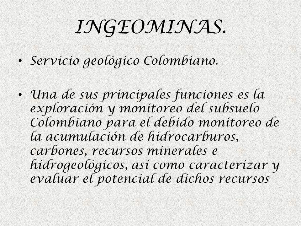 Servicio geológico Colombiano. Una de sus principales funciones es la exploración y monitoreo del subsuelo Colombiano para el debido monitoreo de la a