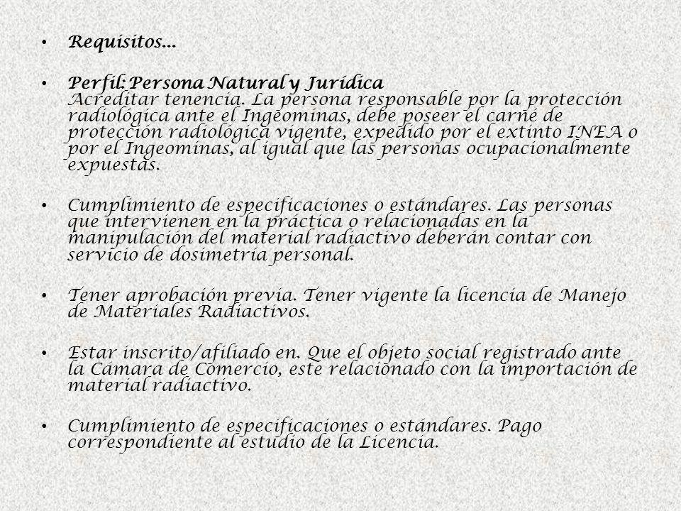 Requisitos... Perfil: Persona Natural y Jurídica Acreditar tenencia. La persona responsable por la protección radiológica ante el Ingeominas, debe pos