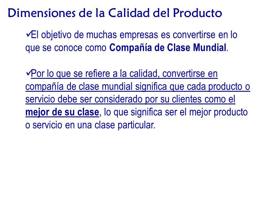 Dimensiones de la Calidad del Producto El objetivo de muchas empresas es convertirse en lo que se conoce como Compañía de Clase Mundial.