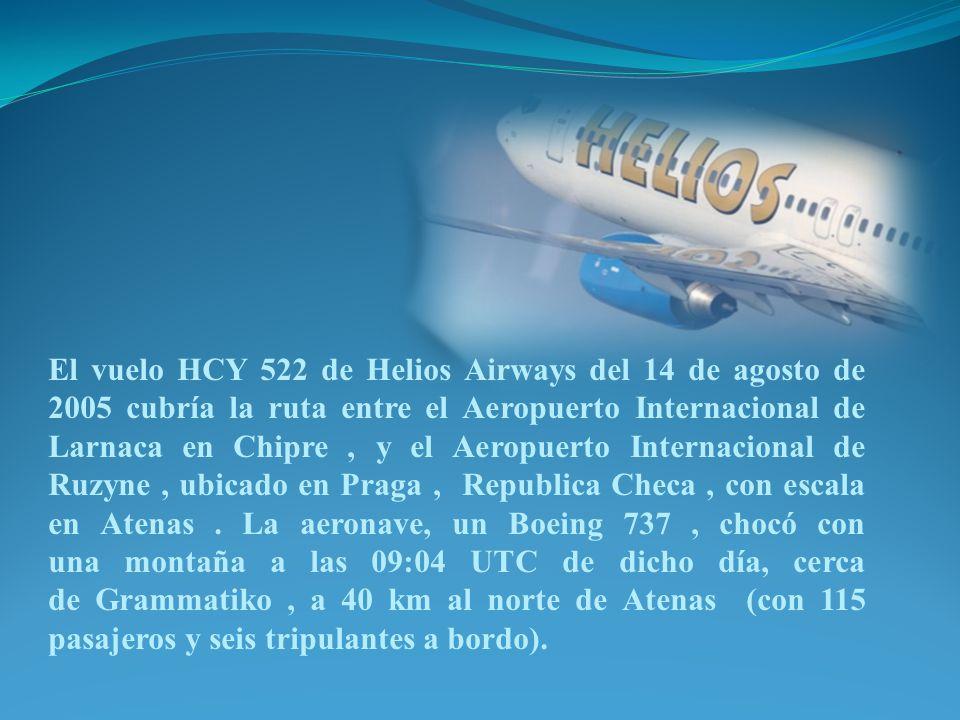 El vuelo HCY 522 de Helios Airways del 14 de agosto de 2005 cubría la ruta entre el Aeropuerto Internacional de Larnaca en Chipre, y el Aeropuerto Int