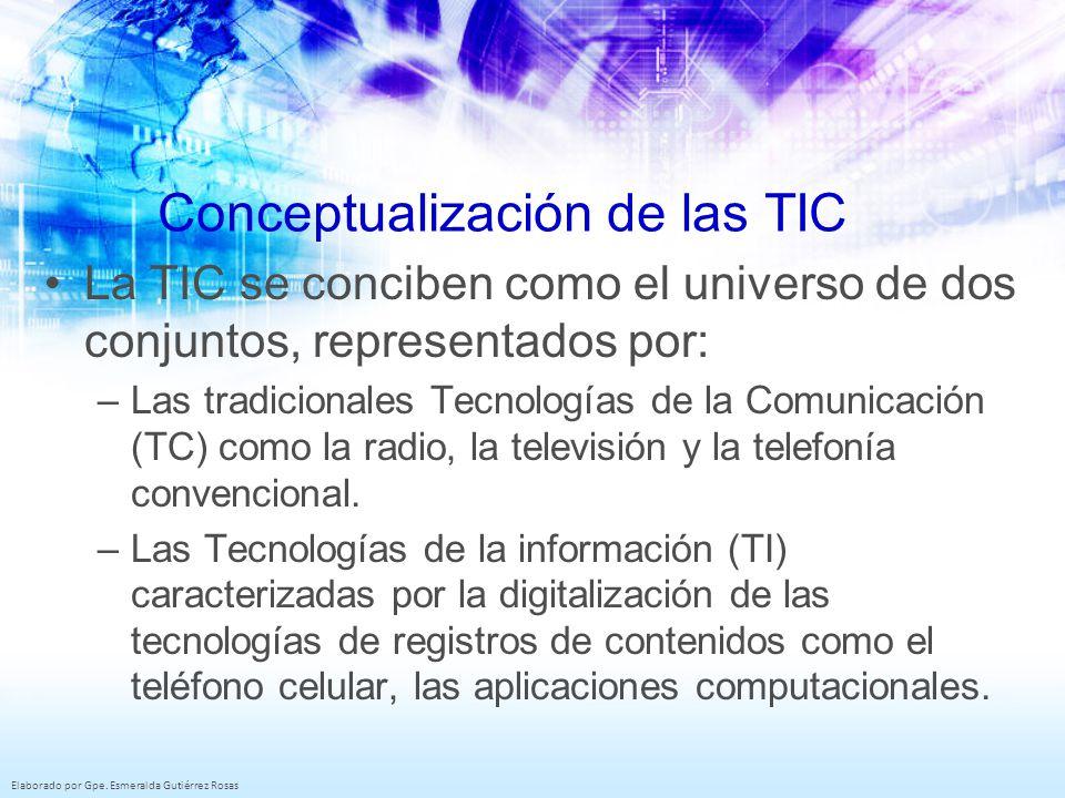 Elaborado por Gpe. Esmeralda Gutiérrez Rosas Conceptualización de las TIC La TIC se conciben como el universo de dos conjuntos, representados por: –La