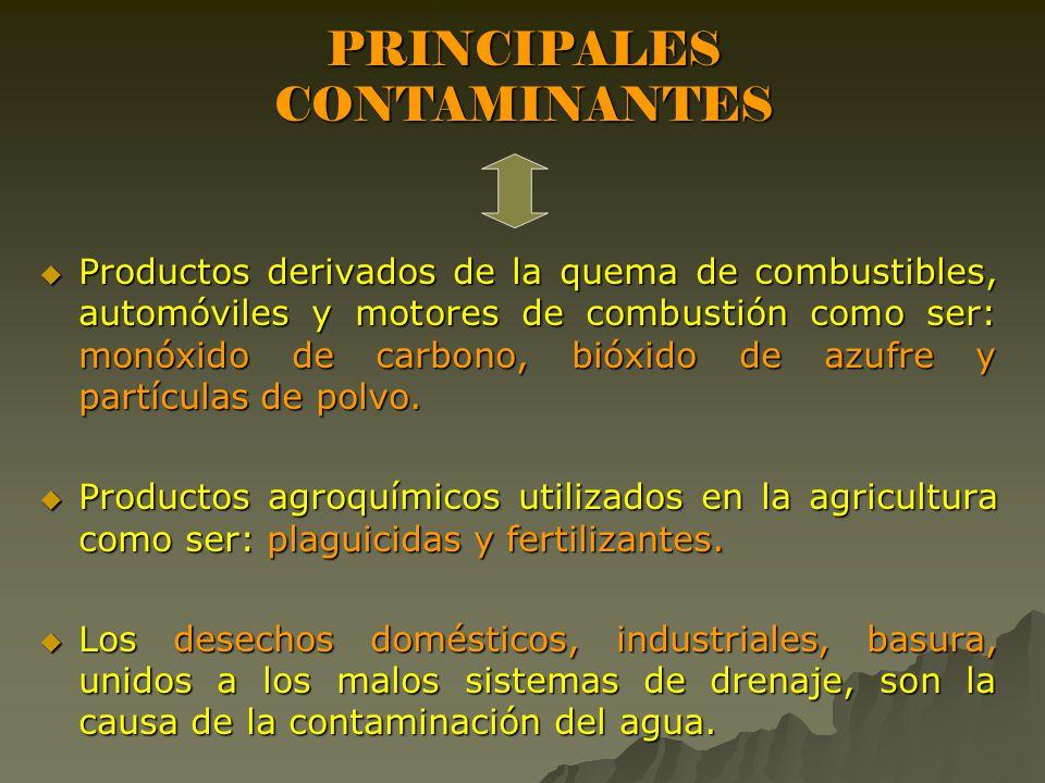 PRINCIPALES CONTAMINANTES Productos derivados de la quema de combustibles, automóviles y motores de combustión como ser: monóxido de carbono, bióxido de azufre y partículas de polvo.