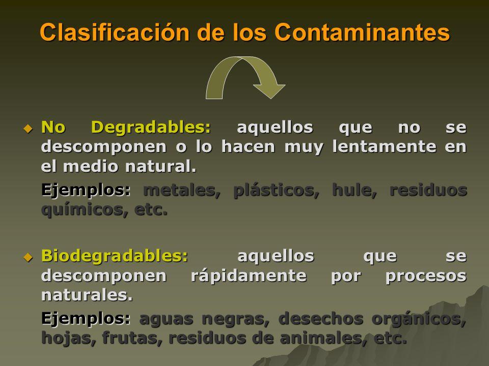 Clasificación de los Contaminantes No Degradables: aquellos que no se descomponen o lo hacen muy lentamente en el medio natural.